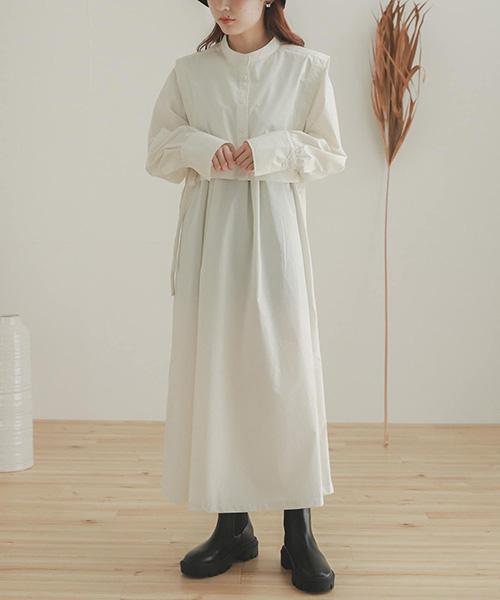 層次感可拆式背心洋裝