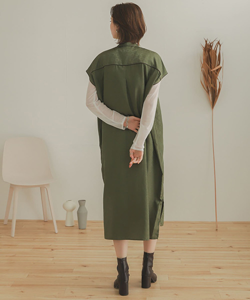 中國風滾邊設計長版襯衫